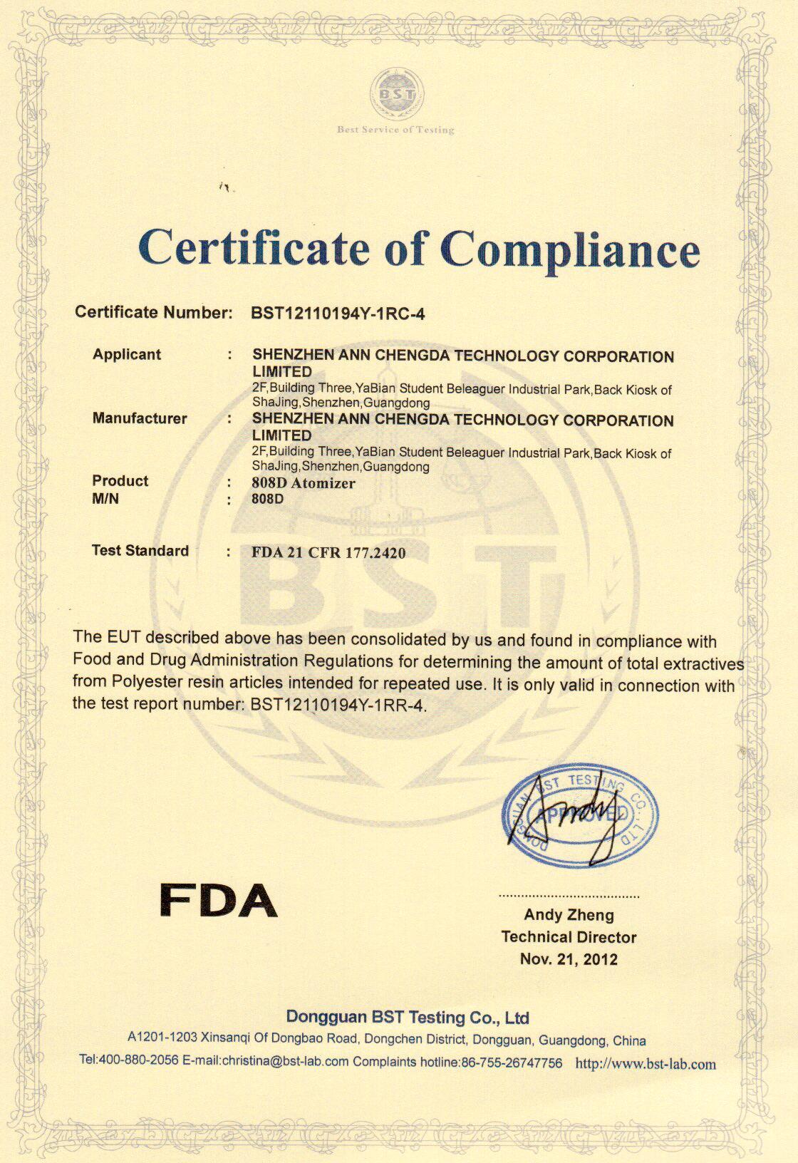 美国fda认证证书