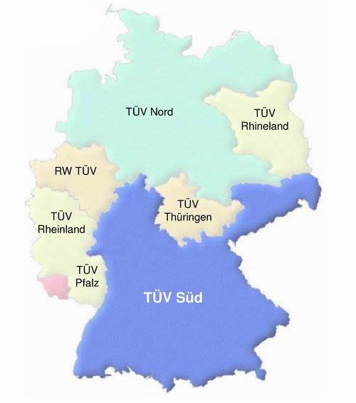 德国TUV的分布图