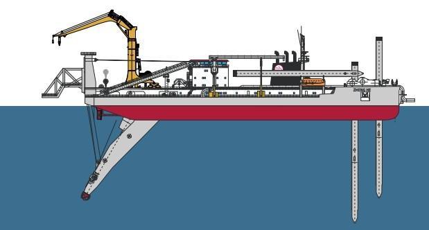 绞吸式挖泥船示意图