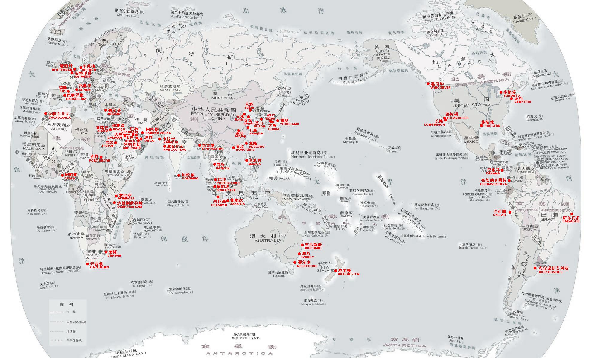 世界主要港口地图