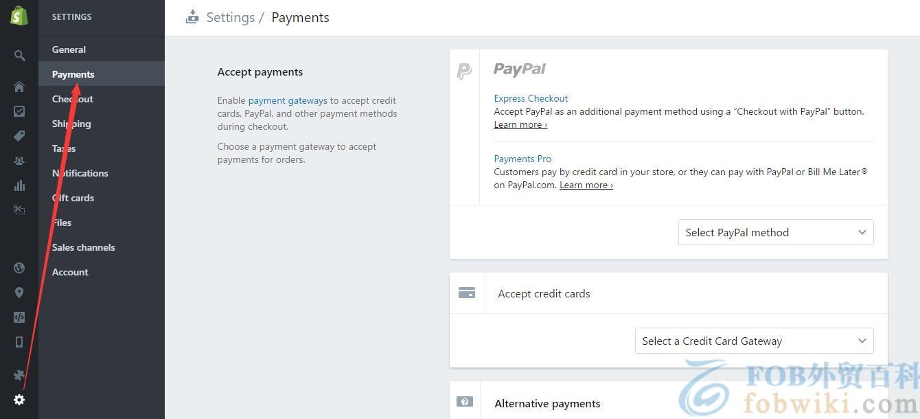 Shopify收款方式