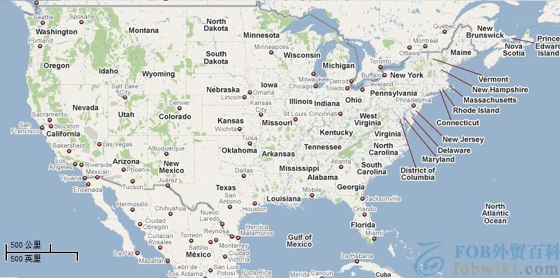 美国港口地图