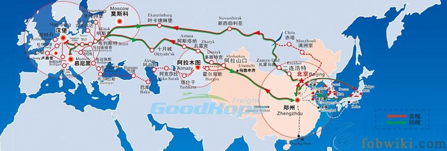郑欧班列到德国线路图